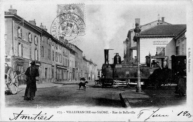 locomotive CFB traversant villefranche-sur-Saône